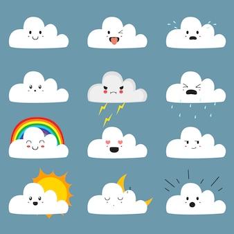 Schattige wolken emoji set met schattige gezichten