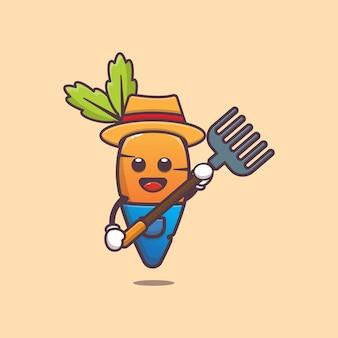 Schattige wortel boer karakter illustratie