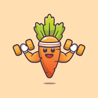 Schattige wortel fitness karakter illustratie