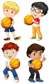 Schattige youngboy stripfiguur met basketbal