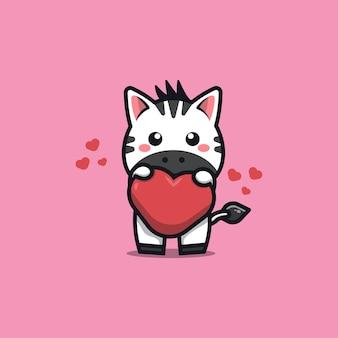 Schattige zebra cartoon knuffel liefde hart kawaii dier