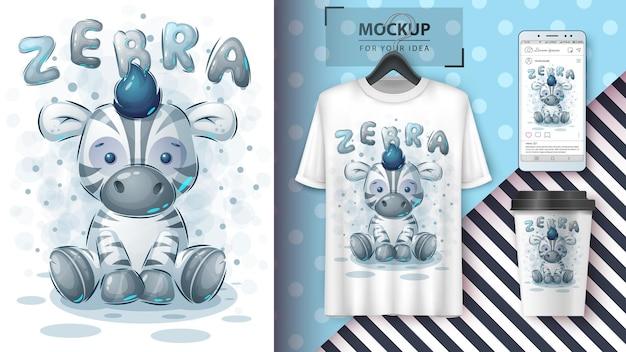 Schattige zebra poster en merchandising. vector eps 10
