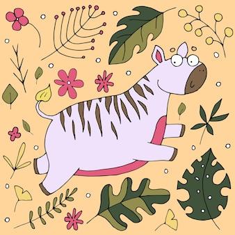 Schattige zebra springen, schattige baby illustratie