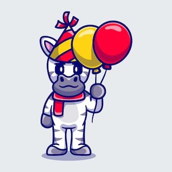 Schattige zebra viert gelukkig nieuwjaar of verjaardag met ballonnen