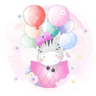 Schattige zebra vliegen met luchtballon