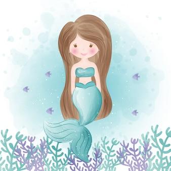 Schattige zeemeermin in aquarel stijl.
