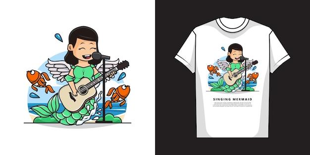 Schattige zeemeermin meisje zingen tijdens het spelen van gitaar met t-shirt mockup design
