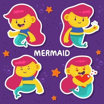 Schattige zeemeermin stripfiguren set geïsoleerd op achtergrond.