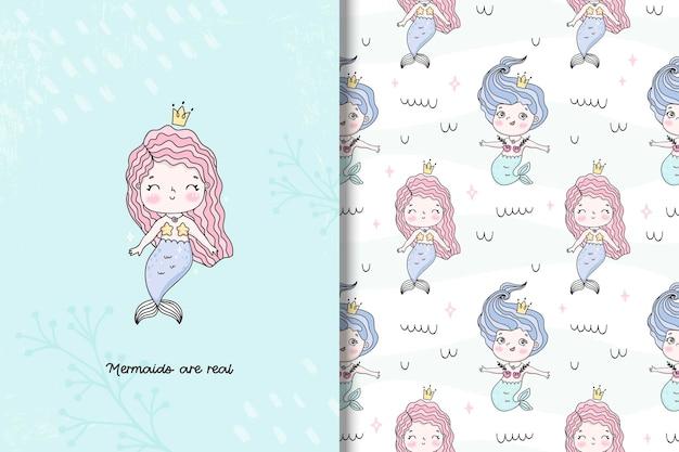 Schattige zeemeerminkaart en naadloos patroon in de hand getekende stijlillustratie voor kinderen