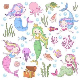 Schattige zeemeerminnen