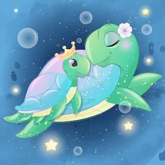 Schattige zeeschildpad moeder en baby