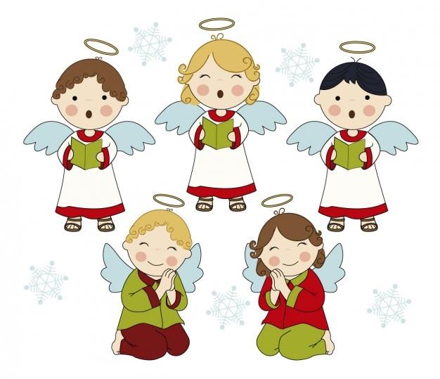 Schattige zingende engelen