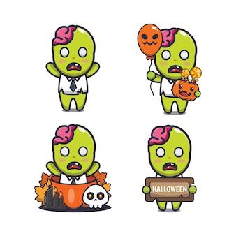 Schattige zombie halloween cartoon afbeelding schattige halloween cartoon vector afbeelding