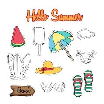 Schattige zomer iconen collectie met tekst en gekleurde doodle stijl