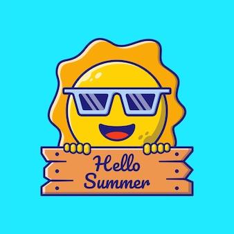 Schattige zon met zonnebril Premium Vector