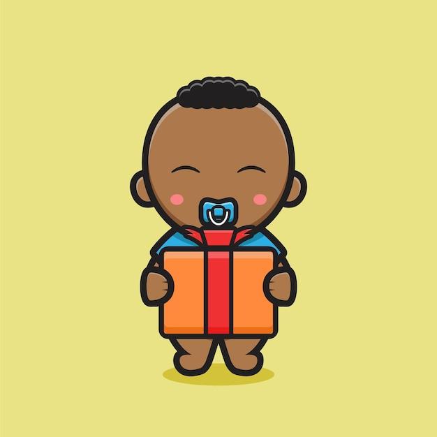 Schattige zwarte baby bedrijf box cadeau. ontwerp geïsoleerd op gele achtergrond.