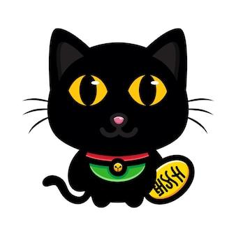 Schattige zwarte kat brengt geluk
