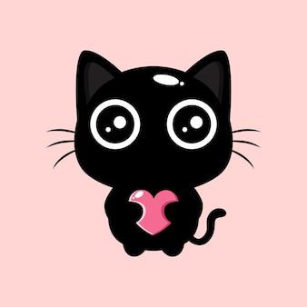 Schattige zwarte kat die hart knuffelt