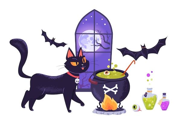Schattige zwarte kat en vleermuis bereiden een magisch drankje voor halloween-feest