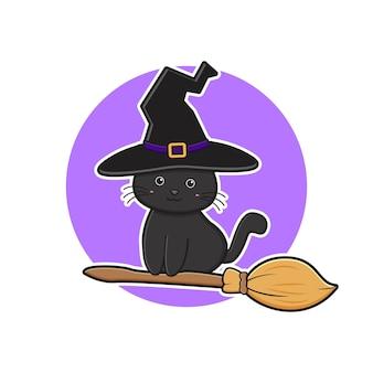 Schattige zwarte kat halloween vliegen met bezem cartoon pictogram illustratie ontwerp platte cartoon stijl