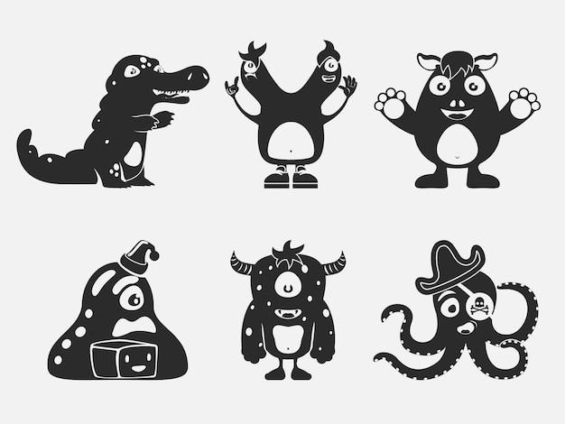 Schattige zwarte monsters pictogrammen.