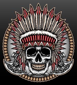 Schedel amerikaanse inheemse hoofd geïsoleerd op zwart