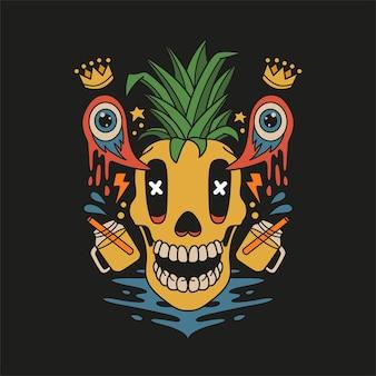 Schedel ananas tshirt design