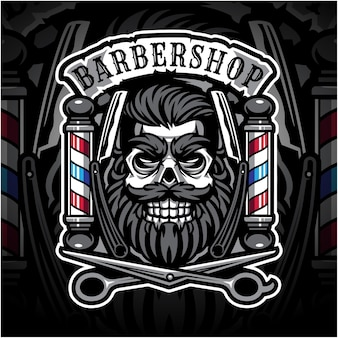 Schedel babershop esport mascotte logo
