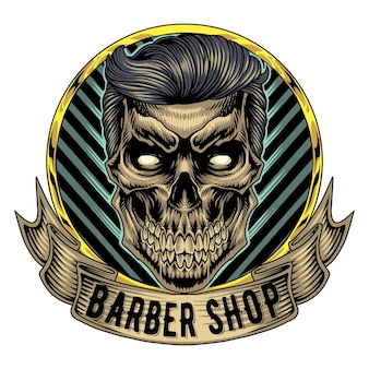 Schedel babershop mascotte logo