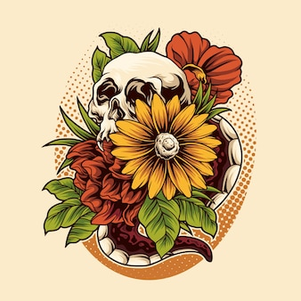 Schedel bloem illustratie