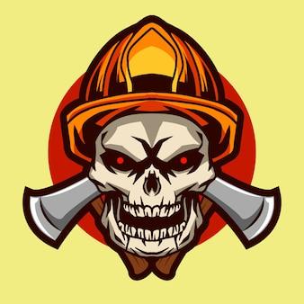 Schedel brandweerman illustratie badge ontwerp