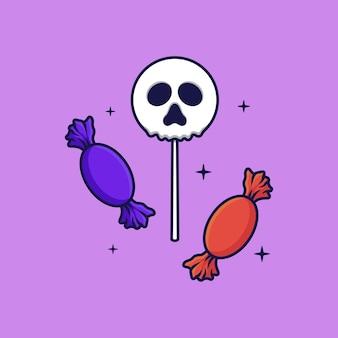 Schedel candy vector illustratie op geïsoleerde object