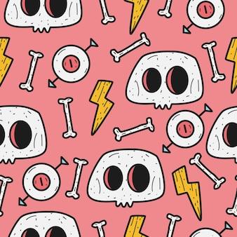 Schedel cartoon doodle patroon sjabloon