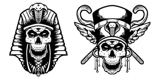 Schedel cleopatra en skul pharoh ontwerp Premium Vector