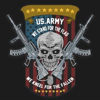 Schedel de amerikaanse militair van de vs met wapen en de vlag van de vs