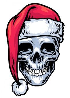Schedel die de hoed van de kerstman draagt