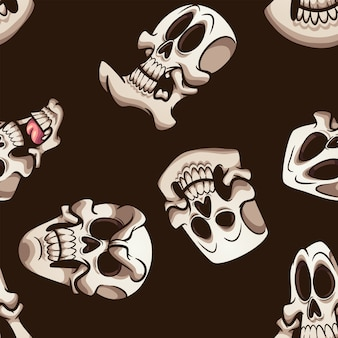 Schedel donker naadloos patroon