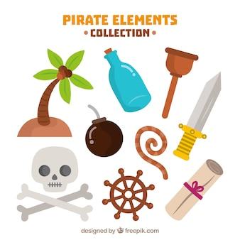 Schedel en andere piraatelementen in plat ontwerp