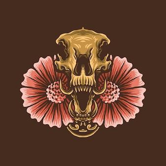 Schedel en bloem illustratie