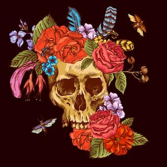 Schedel en bloemen dag van de doden