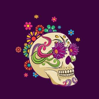Schedel en bloemen illustratie