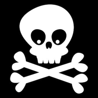 Schedel en botten op een zwarte achtergrond vectorillustratie in cartoonstijl halloween decor