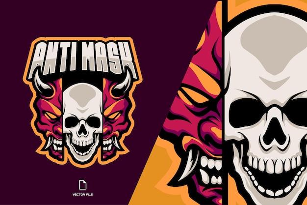 Schedel en demon masker gespleten mascotte logo