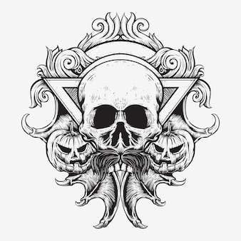 Schedel en jack o lantaarn halloween met vleermuis vleugel klauw kunst badge ontwerp hand tekenen