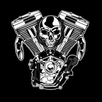 Schedel en motor achtergrond
