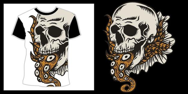 Schedel en octopus staart illustratie