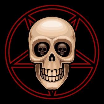 Schedel en pentagram