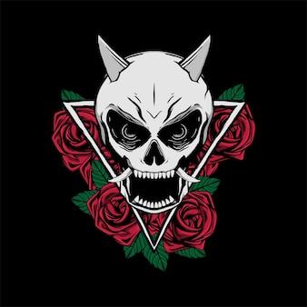 Schedel en roos voor t-shirtontwerp