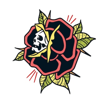 Schedel en rose old school tattoo