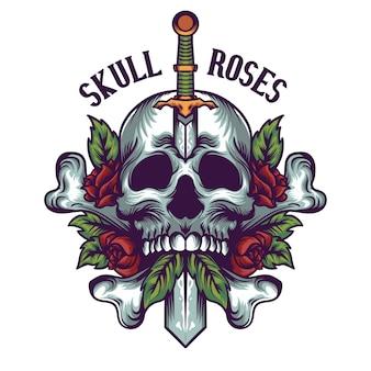 Schedel en rozen